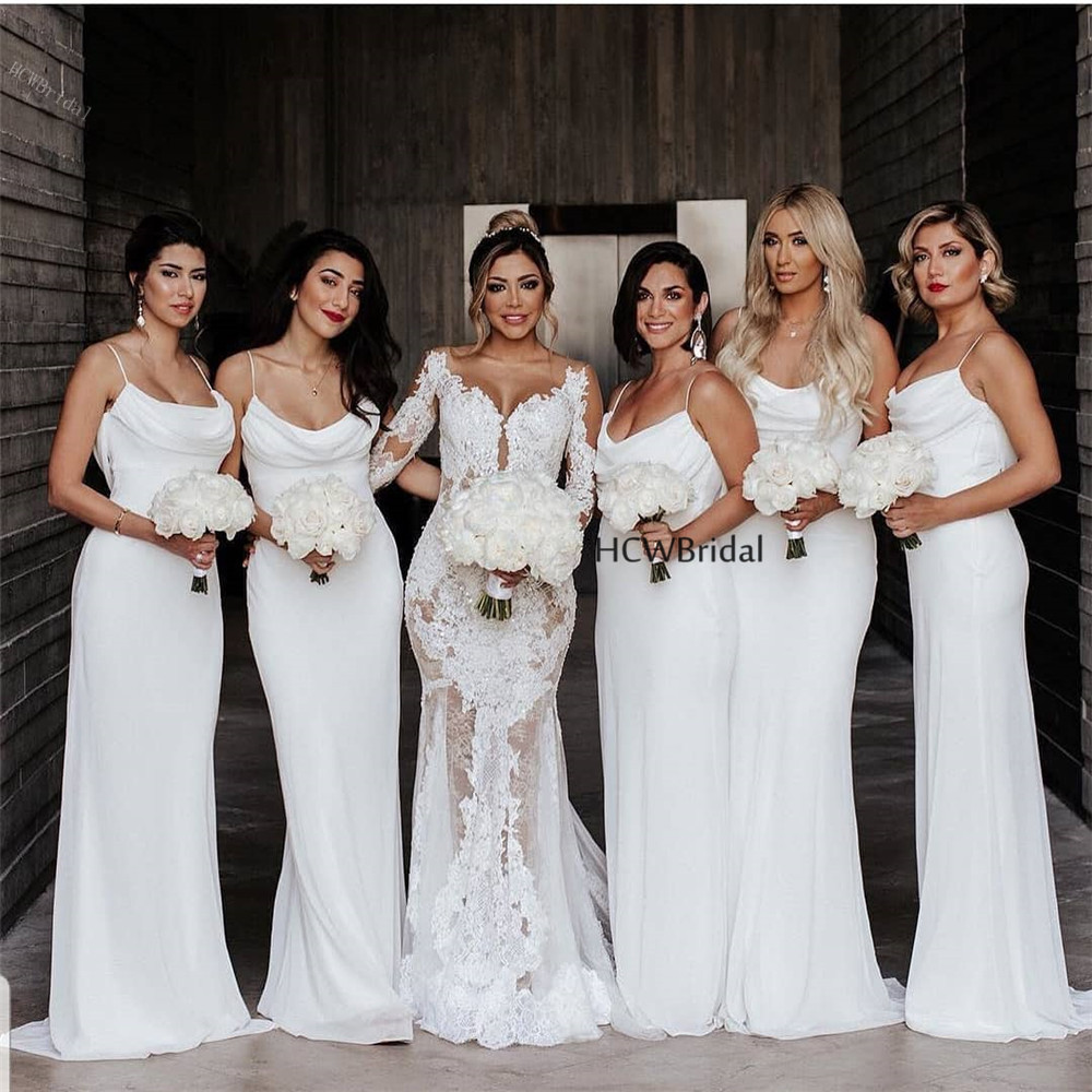 Wholesale White Long   Bridesmaid     Dresses   Strapless Floor Length Spaghetti Strap Sexy Maid Of Honor   Dress   Cheap Robe De Soiree
