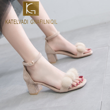 KATELVADI Ladies Summer Gladiator Sandals High Heels Women Beige Pompoms Fashion 6CM Party Shoes Big Size 43 K-424