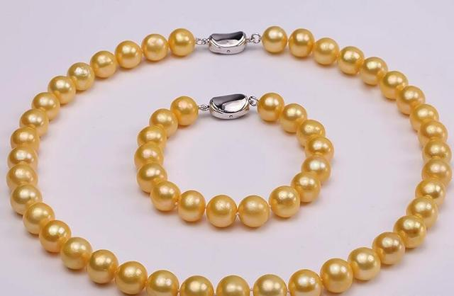 10 11mm Yellow White Black Pink Purple Freshwater Pearl Necklace Bracelet Set 925silver