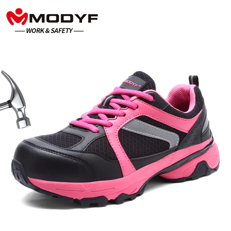 MODYF Women s Steel Toe Work Safety Shoes Lightweight Breathable Anti smashing Anti puncture Non slip