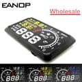 100 pçs/lote EANOP HUD Head Up Display LCD 5.5 OBD ii Estilo do carro Do Carro de combustível Kit de Excesso de velocidade KM/H para o Carro Universal carro-detector