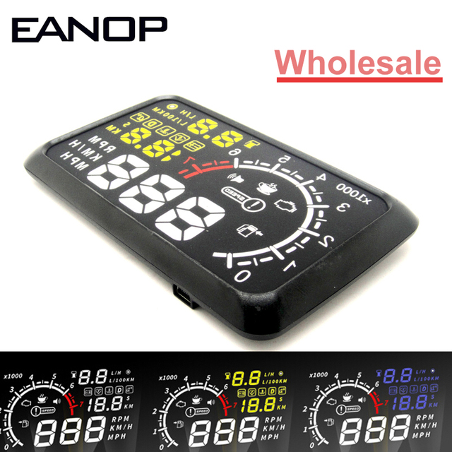 100pcs/Lot EANOP HUD Head Up 5.5 LCD Display OBD ii Car Styling Car Kit fuel Overspeed KM/H for Universal Car Car-detector