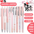 M & G Sakura розовая Милая гелевая ручка Kawaii набор черных гелевых чернильных ручек 0 5 мм 0 38 мм Выдвижной для школьных принадлежностей Канцтовары