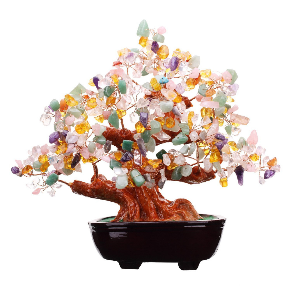 Feng Shui Multi Color Natural Gem Stone Money Tree Office Table Feng Shui Decoration Crystal Money Tree9 Inch