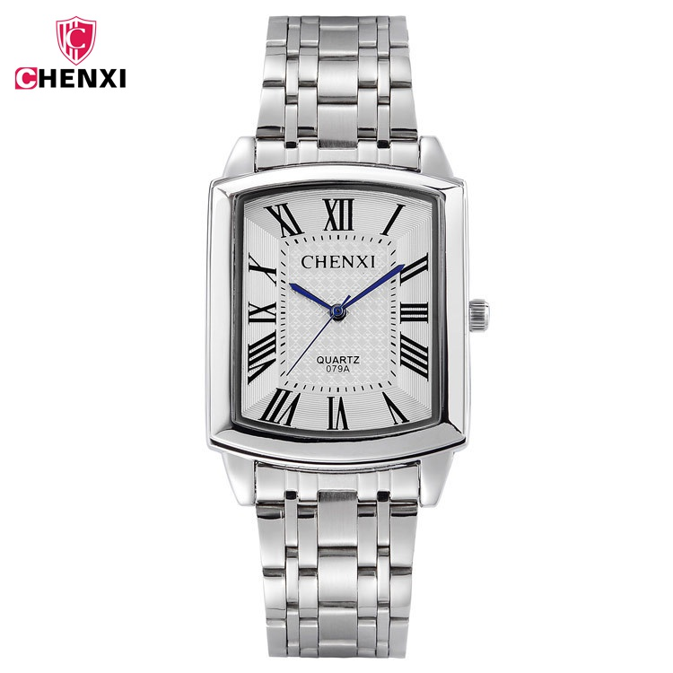 CHENXI Square Women Watch Roman Numeral Silver Stainless Steel Quartz Klockor Herr Lover Lady Clock Retro Casual Par