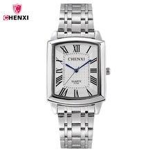 CHENXI квадратный Для женщин часы римская цифра Серебряный Нержавеющаясталь Повседневные часы Для мужчин любовника леди часы Ретро Повседневное пара