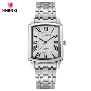 CHENXI Square Women Watch Roman Numeral Silver Stainless Steel Quartz Watches Men Lover's Lady Clock Retro Casual Couple