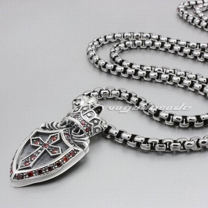 Solid 925 Sterling Silver Crown Cross Shield Mens Biker Pendant 8N003 (Necklace 24inch) solid 925 sterling silver skull mens biker pendant 8c011 with matching stainless steel necklace
