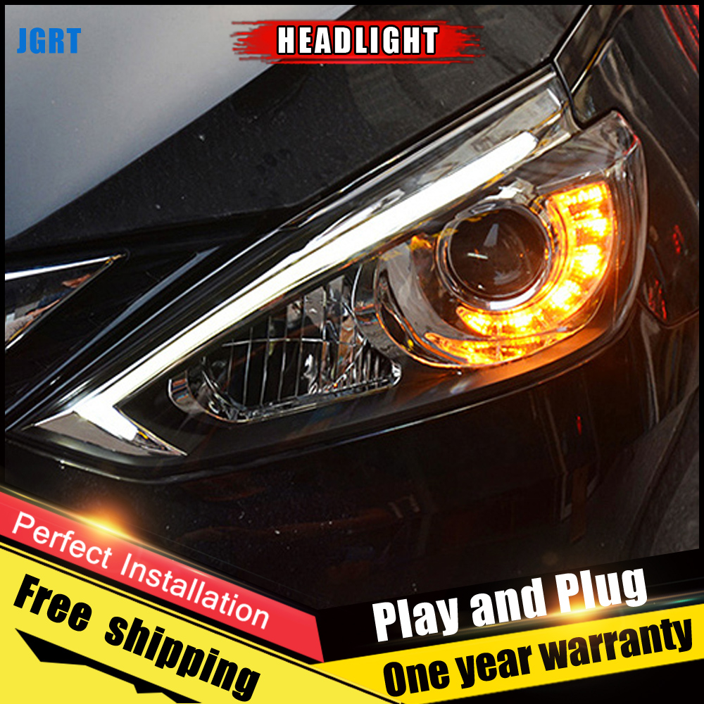 Car Style LED headlights for Nissan Sylphy Sentra 15 17 for Sentra head lamp LED DRL