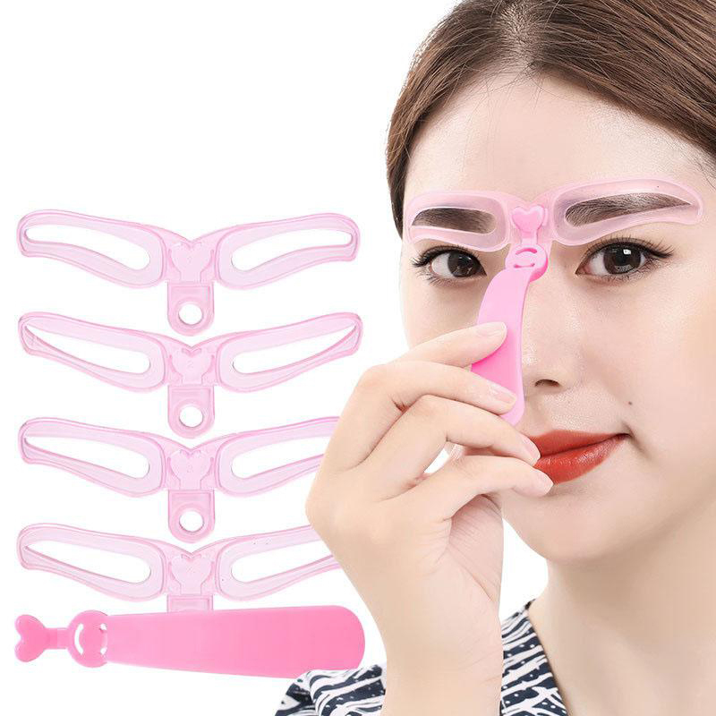 4PCS Brow Painted Eyebrow Pencil Stencils Template Stencil Lady Eye Brow Shaper Makeup Kit Tool Easy To Use