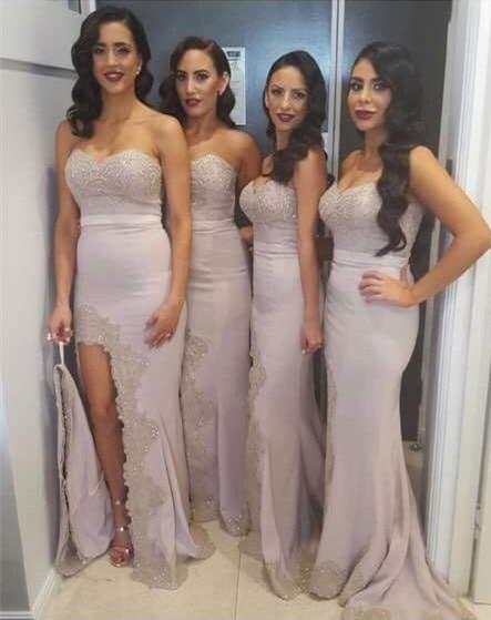 Fashion Purple Sweetheart Mermaid Long Bridesmaids Dresses Sleeveless Sheer Back Bridesmaid Dresses Wedding Dress Formal Dresses