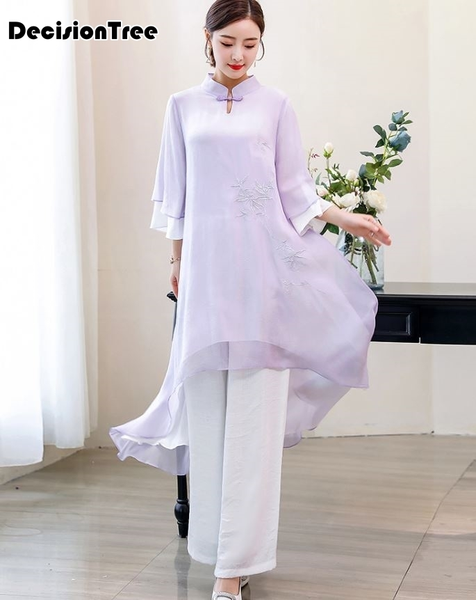 2019 Style Ao Dai Vintage Ethnic Aodai Short Sleeve Qipao Women Silk Long Cheongsams Dress For Party Aodai Set