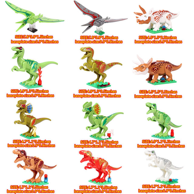 Oenux New 12PCS Jurassic Dinosaur Figures Building Block T-Rex Indomirus Pterosauria Triceratop Dinosaurs Animal World Brick Toy 1