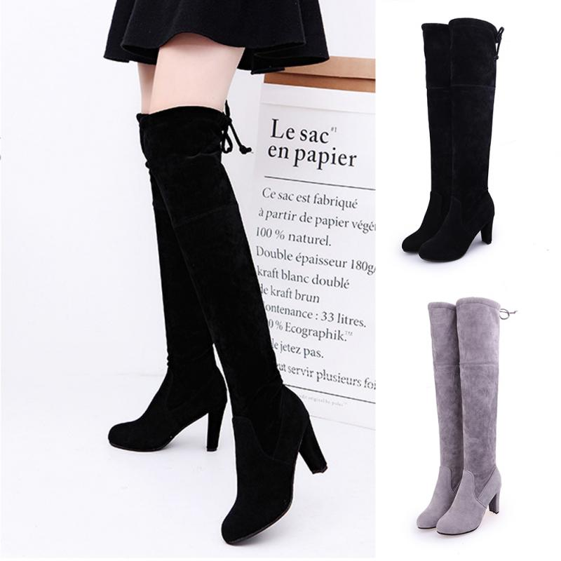 Super Elegant New Spring/Autumn/Winter Women ladies Sexy suede over the knee thigh high block heel lace the tie back boots peter block stewardship choosing service over self interest