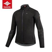 Santic Для мужчин Велоспорт куртка флисовая Термальность Съемная одежда с длинным рукавом куртка велосипед Пеший Туризм осень-зима Костюмы Ciclismo