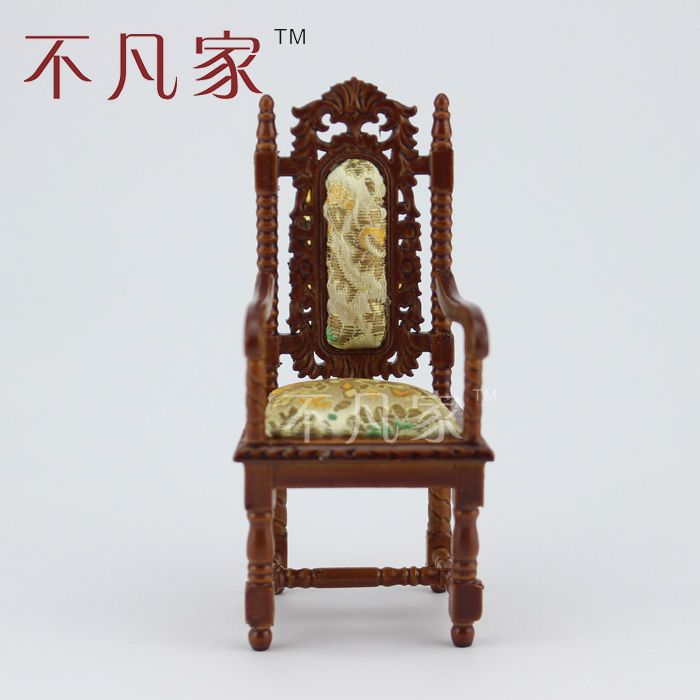 Dollhouse 1/12 scale miniature furniture European style Hand Carved Armchair