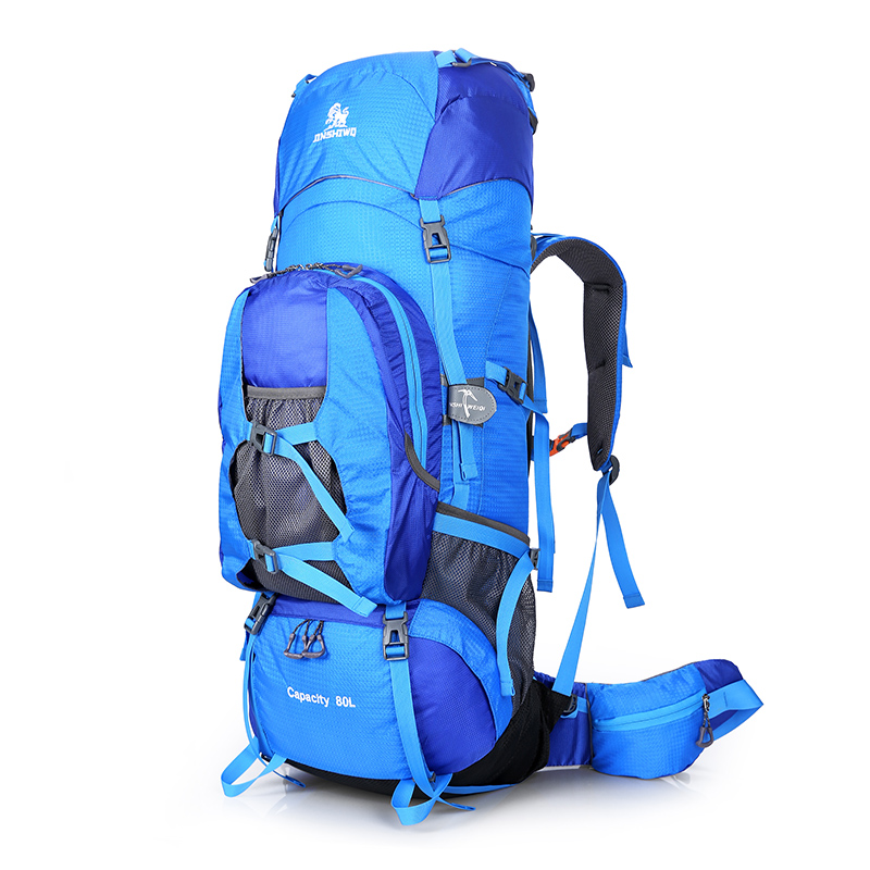 80L Nylon Outdoor Bags Camping Hiking Backpack Bag Waterproof Men Sport Bag Climbing Large Travel Rucksack Women Backpacks in Climbing Bags from Sports Entertainment