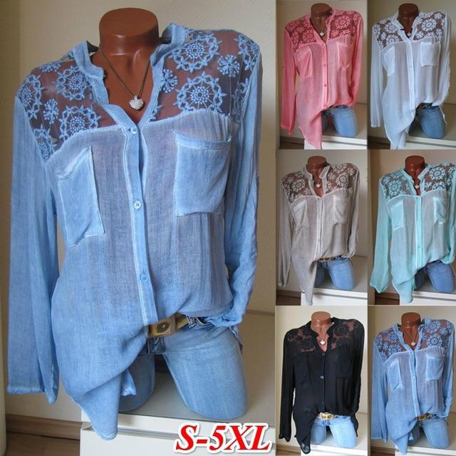 Aprmhisy Hot New Fashion Summer Tops Blouses Women Elegant Hollow Out Flower Pockets Shirts Blusas Feminina 1