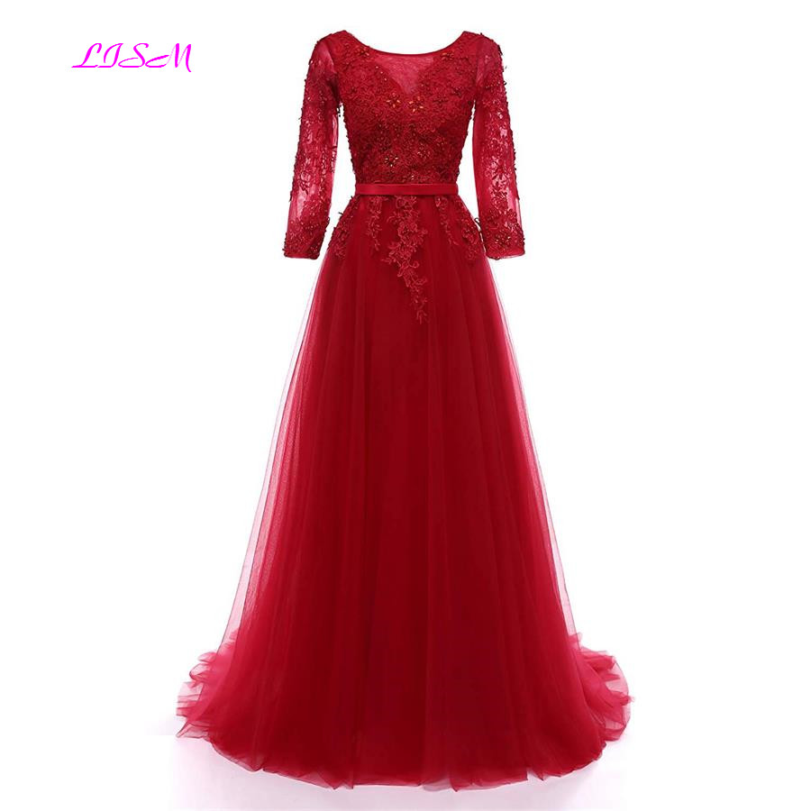 3/4 Sleeves O Neck Lace Appliques Long   Prom     Dresses   A Line Empire Sweep Train Bridesmaid   Dresses   Sexy Backless Evening Gowns