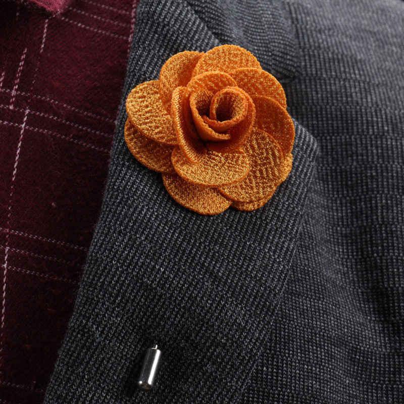Broches da flor da forma da vara do botão do pino do fio da tela para o broche do casamento