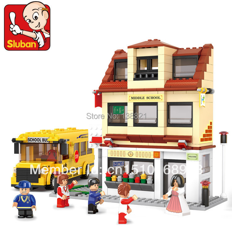 DIY Educational Toys for children Building Blocks school and school bus  self-locking bricks Compatible with Lego 100pcd pack children snowflake match building blocks colorful self locking bricks 3 5cm big plastic blocks kids educational toys