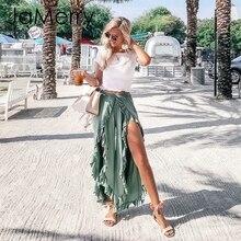JaMerry 2019 vintage flare fırfır pantolon kadınlar düzensiz yüksek bel katı rahat moda pantolon Retro geniş bacak kadın pantolon