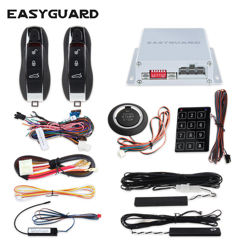 EASYGUARD hopping code PKE car alarm passive keyless entry remote start starter & push start button touch password entry dc12V