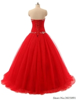 New Sweetheart Ball Gown Red Quinceanera Dresses 2019 Tulle with Appliques Beads Sweet 16 dresses Debutante Long Prom Dresses