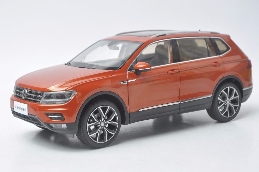 1:18 Diecast Model for Volkswagen VW Tiguan L 2017 Orange Alloy Toy Car Miniature Collection Gifts 1 18 масштаб vw volkswagen новый tiguan l 2017 оранжевый diecast модель автомобиля