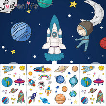 1pcs Space Planeet Serie Waterdichte Tijdelijke Tattoo Stickers Kinderen Jongens Meisjes Cartoon Astronaut Star Universe Tattoo Sticker(China)