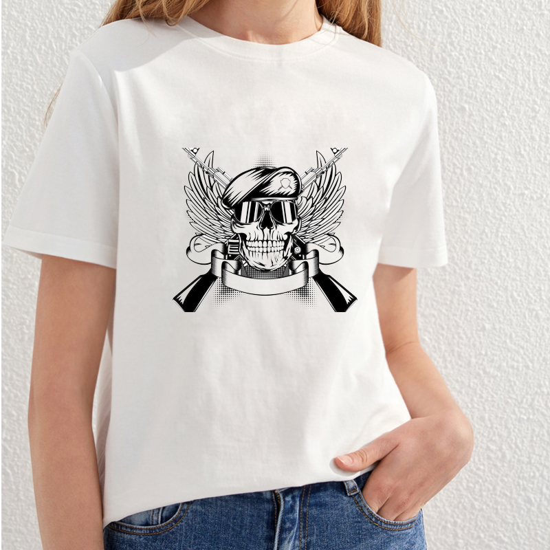 2018 Vacker Skull Utskrift T-shirt Kvinnor Fashion Streetwear T-shirt - Damkläder - Foto 3