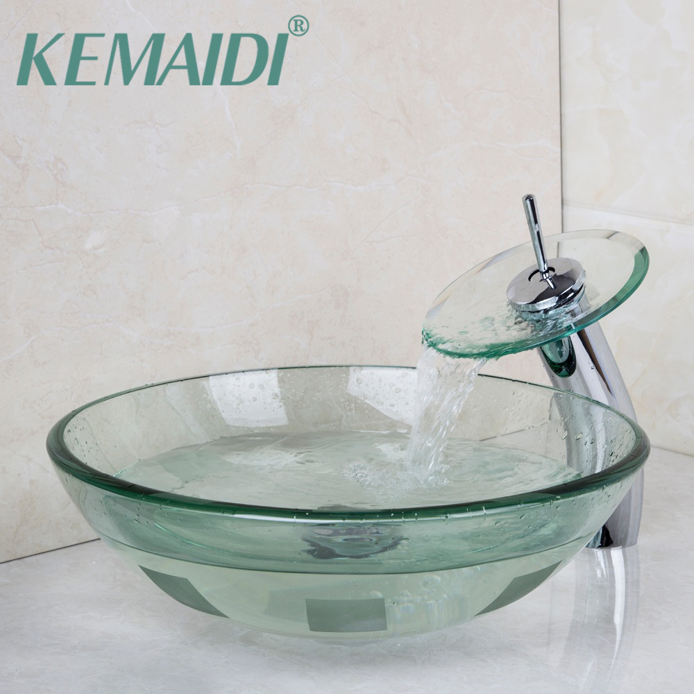 KEMAIDI Modern Washbasin Lavatory Tempered Glass Sink Bath Basin Faucet Set Mixers & Taps Tap bathroom Vessel Sink Vanity