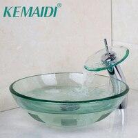 Modern Luxury Washbasin Lavatory Tempered Glass Sink Bath Basin Faucet Set Mixers Taps Tap Bathroom Vessel