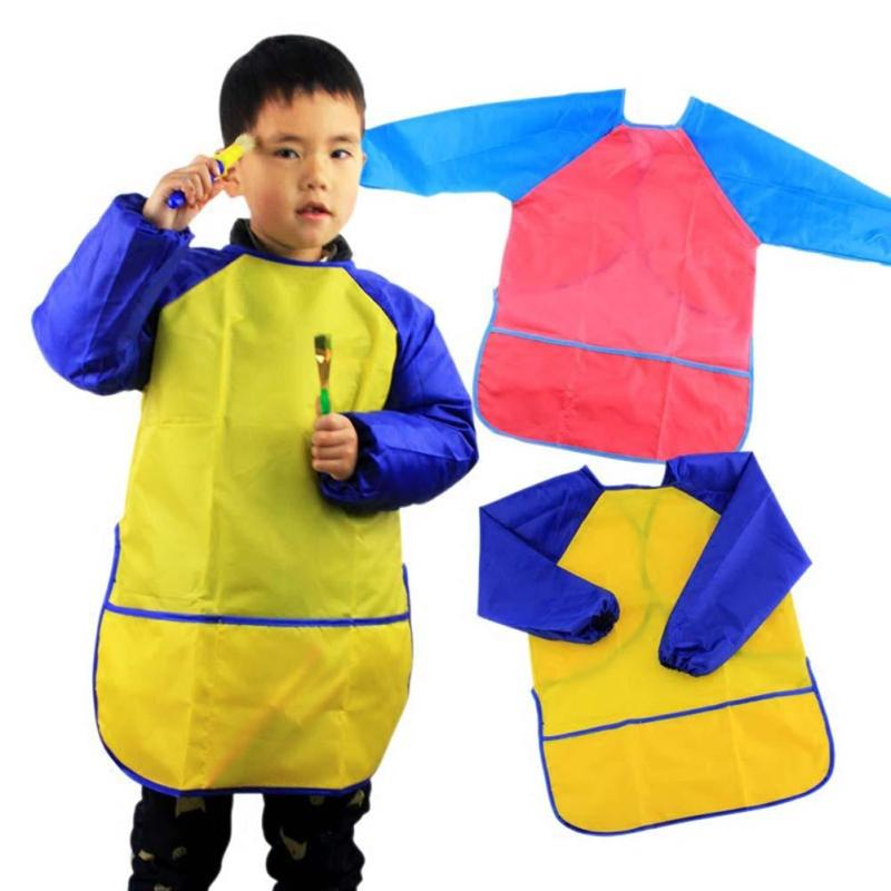 Durable Baby Bibs Colorful Long Sleeve Apron Waterproof Toddler Feeding Bibs Burp Cloths Children Painting Clothes 2017 XV1
