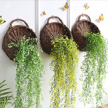 Natural Wicker Flower Basket Pot Planter Vase Rattan Basket Food Storage Container Home Garden Wall Hanging Decor(China)