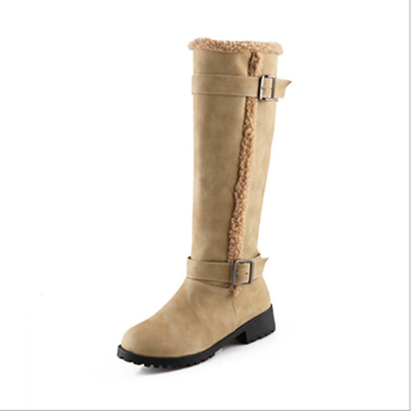 Black Brown Beige Yellow Knight Boots For Women New Hot Round Toe Square heel High Boots Spring Autumn Knee-High Boots enmayer green vintage knight boots for women new big size round toe flock knee high boots square heel fashion winter motorcycle