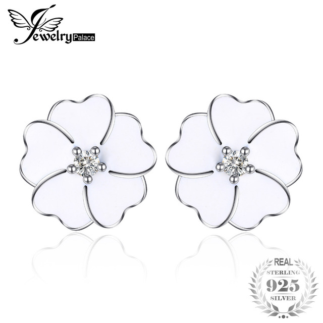 Jewelrypalace 925 Sterling Silver White Enamel Clovers Stud PearLy CLovers Earri