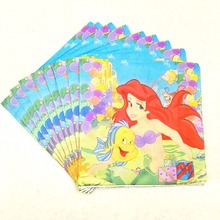 20pcs/set Mermaid party supplies Paper Napkin Cartoon Theme Party For Kids Happy Birthday Decoration girls Favors
