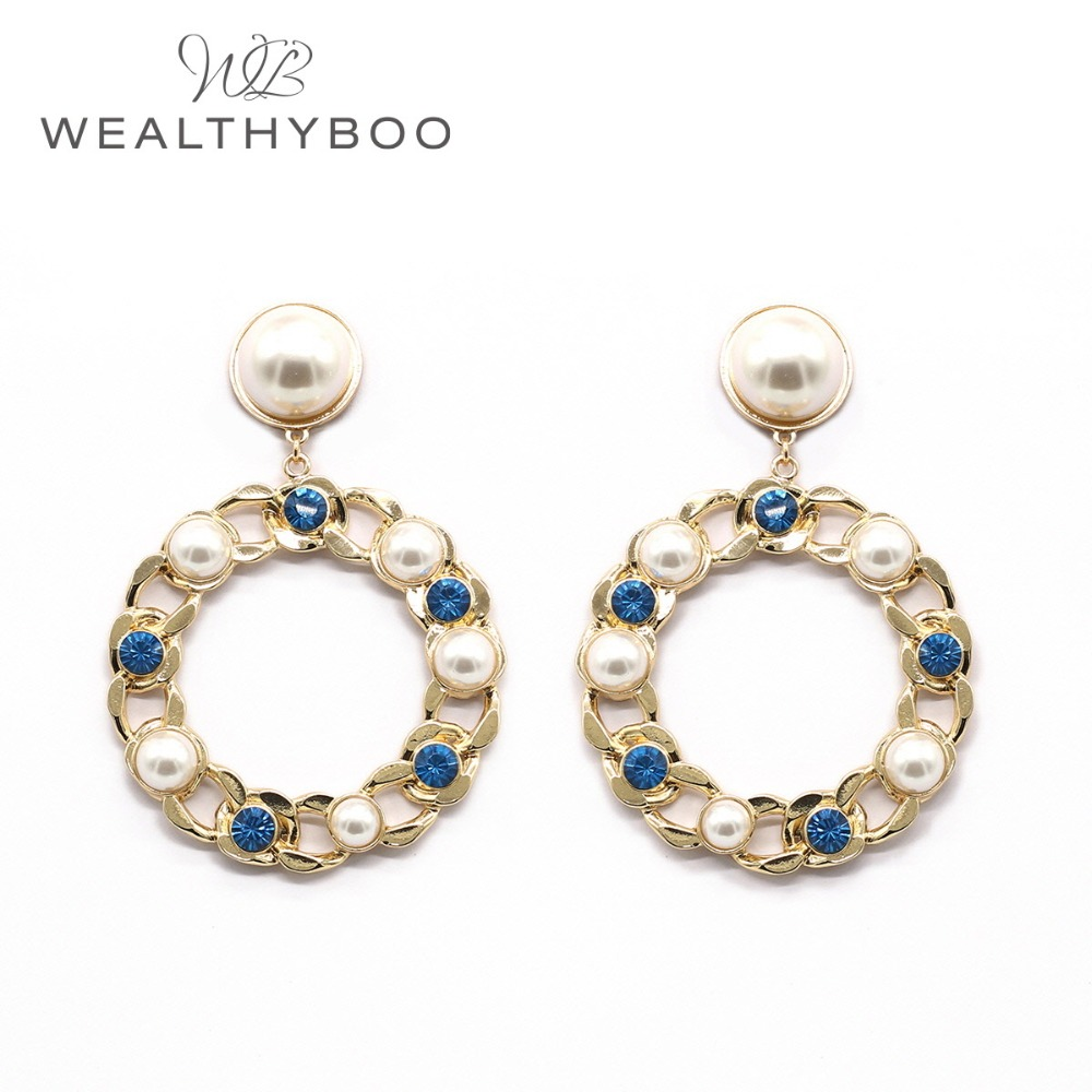 WEALTHYBOO 2018 New Arrival Round Pearl Cab With Imatation Pearl Glass Alternativing Circle Drop For Women Fashion Jewelry