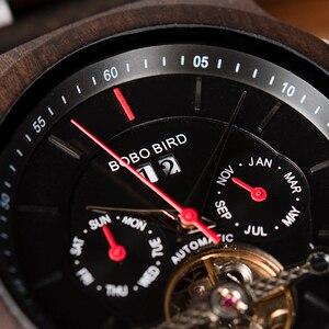 Image 3 - BOBO BIRD Men Watch Mechanical Wristwatches Date Display Luxury Black Wooden Watches relogio masculino Wood Watch Boxes C Q27