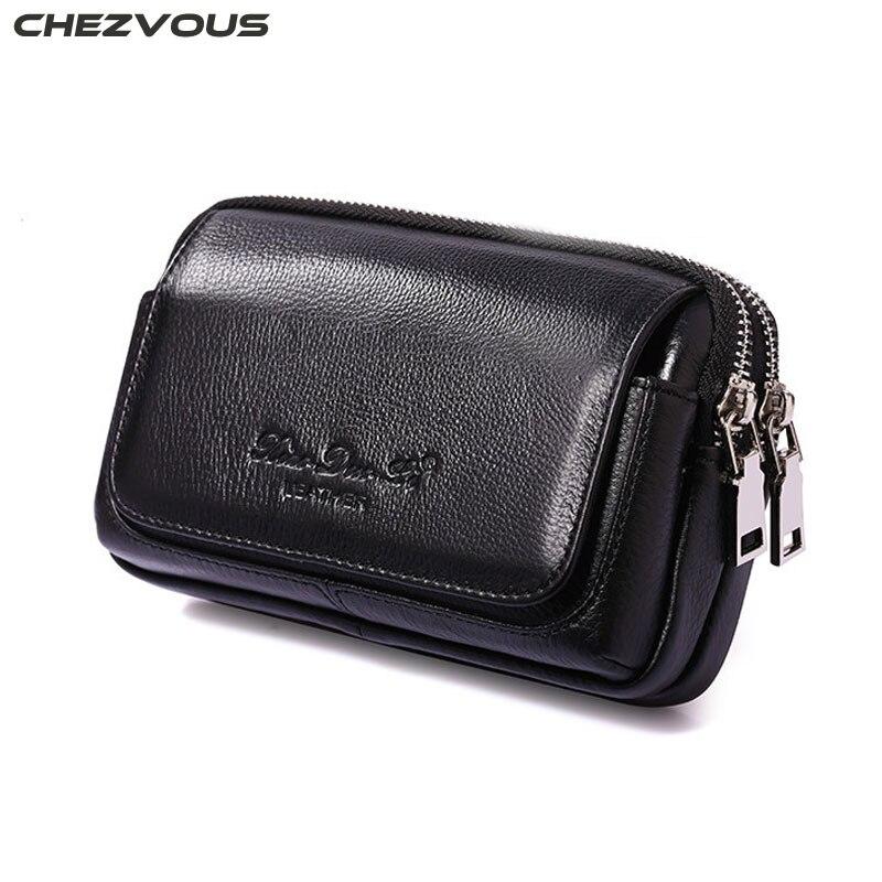 CHEZVOUS sac de téléphone portable pochette de ceinture pour iPhone 7 8 6 plus 5 s véritable cuir de vachette mode hommes sac de taille Fanny Pack 2 taille