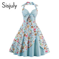 Sisjuly 1950s Vintage Dresses Floral Print Retro Stitching Patchwork Party Robe Bow Sexy Strap Sky Blue
