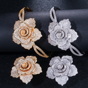 Image 3 - CWWZircons Luxury Cubic Zirconia Large Gold Geometric Flower Women Wedding Party Rings and Bangle Jewelry Sets for Brides T323