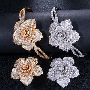 Image 3 - CWWZircons Luxus Zirkonia Große Gold Geometrische Blume Frauen Hochzeit Party Ringe und Armband Schmuck Sets für Bräute T323