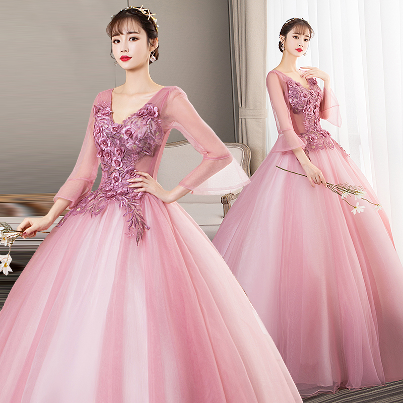 100%real light pink flare sleeve cosplay ball gown medieval dress Renaissance gown queen Victorian Belle Ball gown