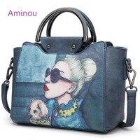 2018 Famous Designer Brand Tote Bags Women High Quality Leather Handbags Shoulder Bag For Ladies Vintage Print Handbag Blue Pink