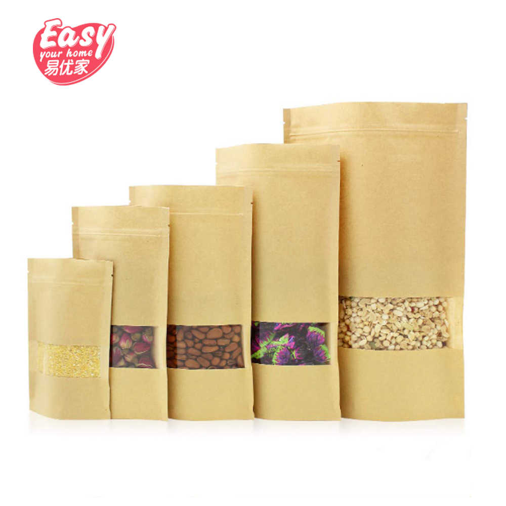 50pcs kraft Paper Zipper Bag Nuts Candy Cookies Dried Food Packaging Stand up Pouch Zip Lock Kraft Paper Bags with Clear Window