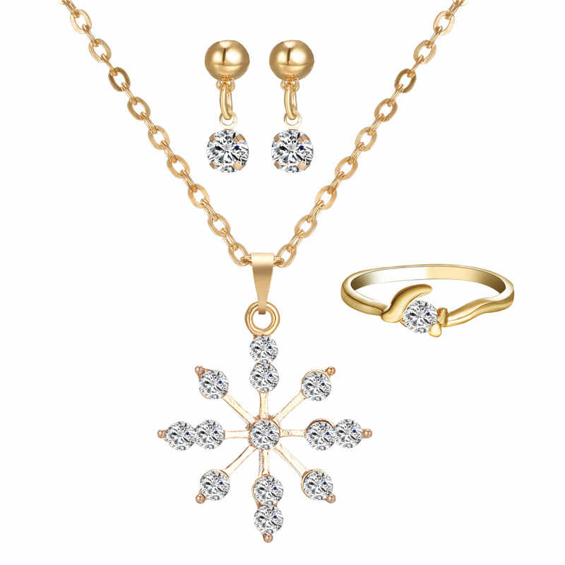 Snowflake Pendant necklace gold jewelry sets For Woman Fashion Jewelry crystal Jewelry set  Valentine's Day gift