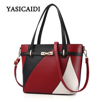 Fashion Women Shoulder Bag Female Pu Leather Patchwork Hasp Autumn Winter Handbags Famous Panelled Women S