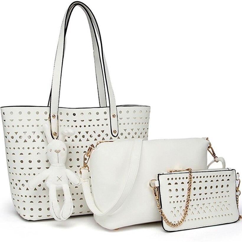 3pcs Set hollow Women tote Bag summer woman white pink tote Bags rabbit Casual top handle